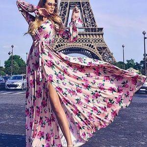 New Lulus Floral Bohemian Winter Maxi Dress Size:M